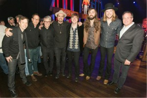L to r: Republic Nashville's Matthew Hargis, McGhee Ent.'s Scott Mcghee, Republic Nashville's Jimmy Harnen, A Thousand Horses: Zach Brown, Bill Satcher, Graham DeLoach and Michael Hobby, and the Grand Ole Opry's Pete Fisher